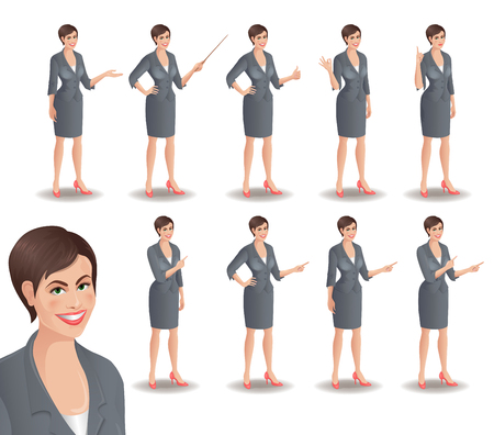 businesswoman suit: Business woman set. Set of cartoon smiling businesswoman in suit standing in different presentation poses. Vector illustration isolated on white background.