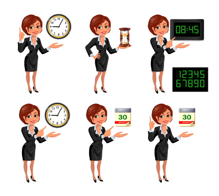 cutoff date: Cartoon business woman deadline set. Set of smiling cartoon businesswoman points to the deadline. Girl in suit with clock, hourglass, digital clock and tear-of calendar. Vector illustration isolated on white background.