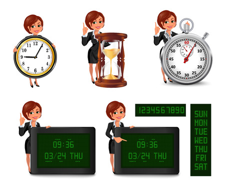 businesswoman suit: Cartoon business woman deadline set 2. Set of smiling cartoon businesswoman points to the deadline. Girl in suit with clock, hourglass, stopwatch, digital clock and calendar. Vector illustration isolated on white background.