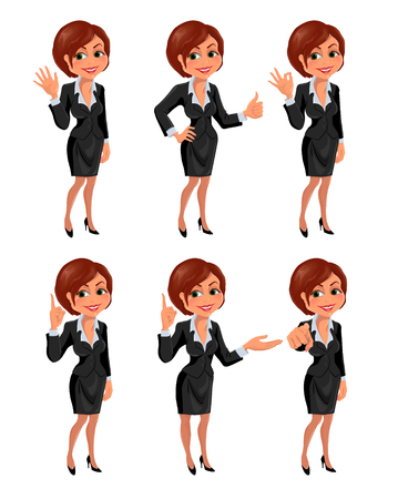 okey: Cartoon business woman gestures set. Set of smiling cartoon businesswoman with different gestures: hello, ok, thumb up, attention, presentation, finger up. Vector illustration isolated on white background.