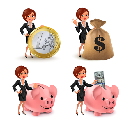 Cartoon business woman money set. Set of smiling cartoon businesswoman with different symbols of money and wealth: euro coin, piggy bank, dollar bills, sack of money. Vector illustration isolated on white background. Stock Illustratie