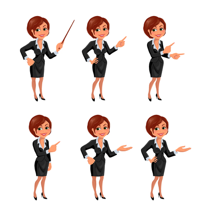 okey: Cartoon business woman presentation set. Set of cartoon smiling businesswoman in suit standing in different presentation poses. Vector illustration isolated on white background. Illustration