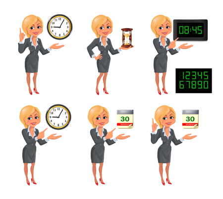 businesswoman suit: Cartoon blond business woman deadline set. Set of smiling cartoon businesswoman points to the deadline. Girl in suit with clock, hourglass, digital clock and tear-of calendar. Vector illustration isolated on white background. Illustration
