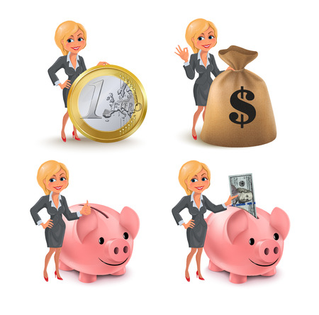 Cartoon blond business woman money set. Set of smiling cartoon businesswoman with different symbols of money and wealth: euro coin, piggy bank, dollar bills, sack of money. Vector illustration isolated on white background. Illustration