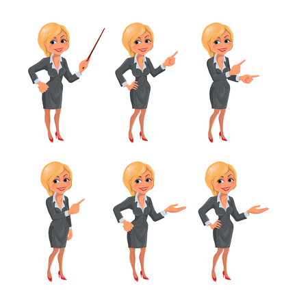Cartoon blond business woman presentation set. Set of cartoon smiling businesswoman in suit standing in different presentation poses. Vector illustration isolated on white background.