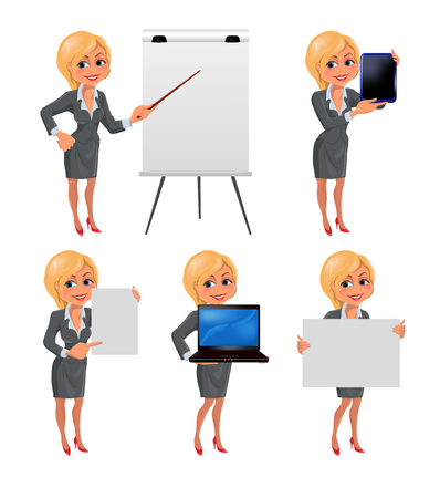 business woman with tablet: Cartoon blond business woman presentation set 2. Set of cartoon smiling businesswoman in suit standing in different presentation poses: with flip chart, laptop, tablet, presentation board and paper. Vector illustration isolated on white background. Illustration