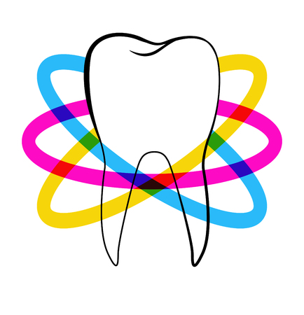 an orbit: Dentistry. Stylized tooth shape with colorful orbit stripes around it as a template