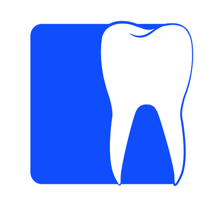 quadratic: Dentistry. Stylized tooth shape on square background as a template