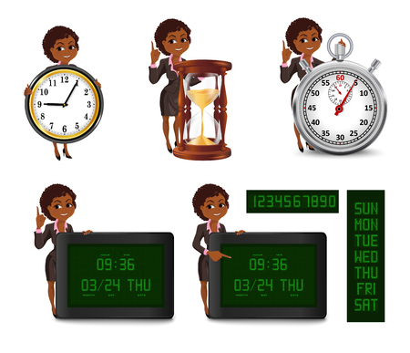 cutoff date: Set of smiling cartoon African American business woman points to the deadline. Girl in suit with clock, hourglass, stopwatch, digital clock and calendar. Vector illustration isolated on white background.