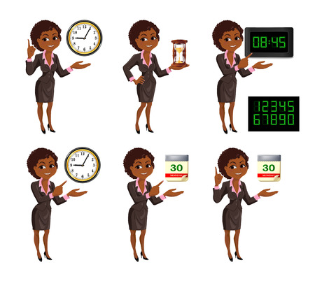 cutoff date: Set of smiling cartoon African American business woman points to the deadline. Girl in suit with clock, hourglass, digital clock and tear-of calendar. Vector illustration isolated on white background. Illustration