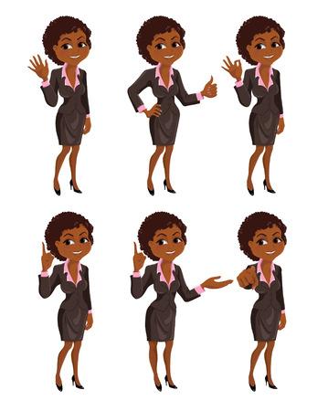Serie di cartoni animati sorridente donna d'affari afro-americano con diversi gesti: ciao, ok, pollice in su, di attenzione, di presentazione, dito verso l'alto. Vettoriale illustrazione isolato su sfondo bianco.
