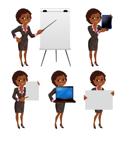 Set of cartoon smiling African American business woman in suit standing in different presentation poses: with flip chart, laptop, tablet, presentation board and paper. Vector illustration isolated on white background. Vector Illustration