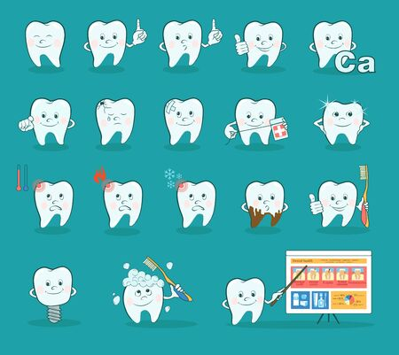odontolith: Cartoon teeth set. Collection of cute cartoon teeth in different situations. Funny dental symbols. Vector illustration. Illustration