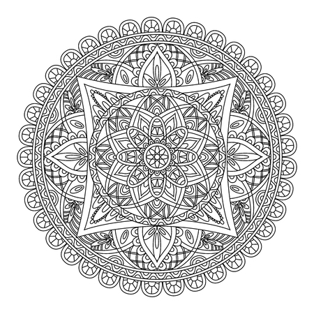 asiatic: Mandala pattern. Round black and white oriental pattern. Arabic, Indian, American ethnic ornament such as adult coloring book, tattoo, batik, t-shirt print. Vector illustration. Illustration
