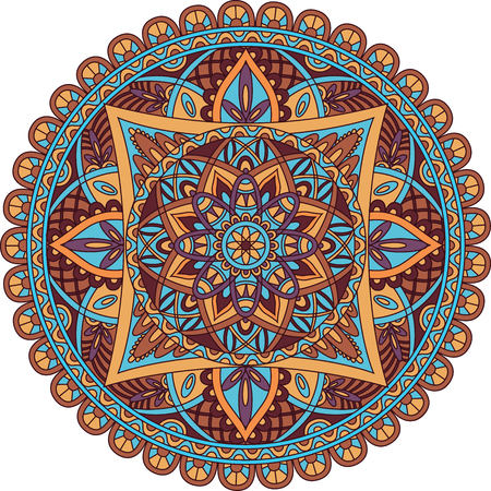 asiatic: Oriental pattern. Colored round  Arabic, Indian, American, Moroccan ethnic ornament such as adult coloring book, batik, t-shirt print. Mandala. Vector illustration.