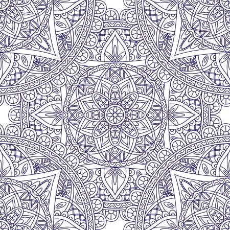東洋のシームレスなパターン。青い正方形のアラビア語の概要、大人のぬりえなどインド、アメリカ、モロッコの民族飾りを備えた、バティック、t   イラスト・ベクター素材