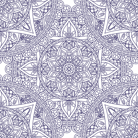 Oriental seamless pattern. Blue outline square Arabic, Indian, American, Moroccan ethnic ornament such as adult coloring book, batik, t-shirt print. Mandala. Vector illustration. Ilustração