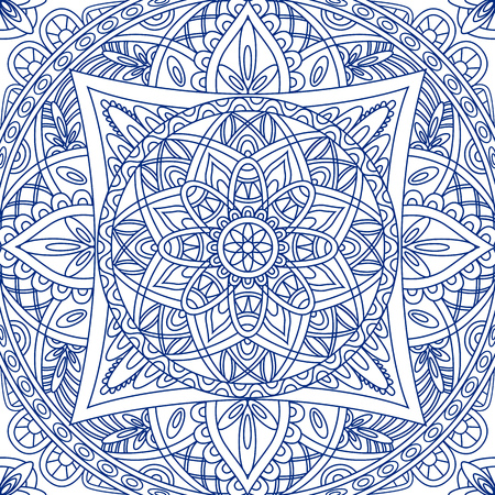 Oriental seamless pattern. Blue outline square Arabic, Indian, American, Moroccan ethnic ornament such as adult coloring book, batik, t-shirt print. Mandala. Vector illustration. Vettoriali