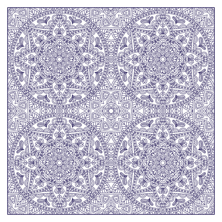 asiatic: Oriental pattern. Blue outline square Arabic, Indian, American, Moroccan ethnic ornament such as adult coloring book, batik, t-shirt print. Mandala. Vector illustration.
