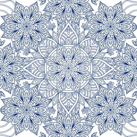 asiatic: Oriental seamless pattern. Blue outline square Arabic, Indian, American, Moroccan ethnic ornament such as adult coloring book, batik, t-shirt print. Mandala. Vector illustration. Illustration