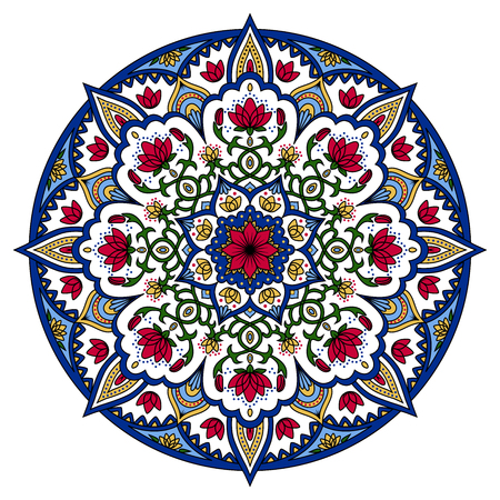 Oriental pattern. Colored round Arabic, Indian, American, Moroccan ethnic ornament such as adult coloring book, batik, t-shirt print. Mandala. Vector illustration.