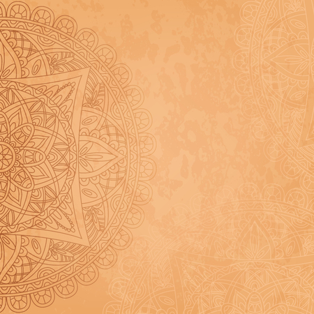 asiatic: Mandala retro background. Square background with oriental round pattern and texture of old paper. Vector illustration. Illustration