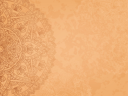 manuscript: Mandala3 retro background. Horizontal background with oriental round pattern and texture of old paper. Vector illustration.