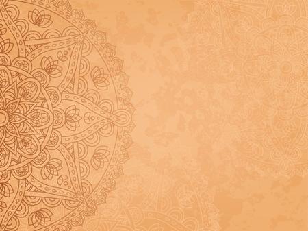 retro background Mandala3. Sfondo orizzontale con modello rotondo orientale e la consistenza della vecchia carta. Illustrazione vettoriale. Vettoriali