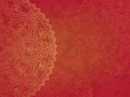 asiatic: Mandala3 retro red background. Horizontal background with oriental round pattern and texture of old paper. Vector illustration.