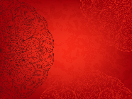 asiatic: Mandala5 retro red background. Horizontal  background with oriental round pattern and texture of old paper. Vector illustration.
