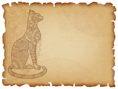 asiatic: Old paper background with mandala cat. Horizontal background with cat ornate in oriental style. Manuscript with charred edges. Vector illustration. Illustration