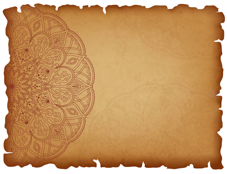 history background: Old paper background with mandala6. Horizontal background with round oriental pattern. Manuscript with charred edges. Vector illustration.