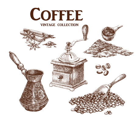 measuring spoon: Coffee set. Coffee set. Hand drawn collection in vintage style. Vector illustration.