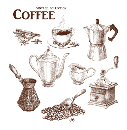 measuring spoon: Coffee set. Hand drawn collection in vintage style. Vector illustration.