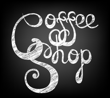Chalk lettering Coffee shop. Calligraphic inscription on chalkboard.  Template of banner, poster, t-shirt print  . Vector illustration
