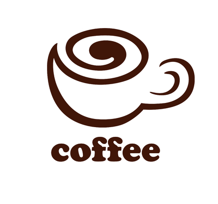 helical: Helical line in the form of stylized coffee cup. Sign. Template  . Icon. Vector illustration. Illustration