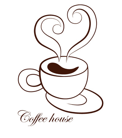 to trickle: Stylized image of a cup of coffee with saucer and steam in the form of heart shape. Sign. Template of  Coffee  . Icon. Vector illustration.
