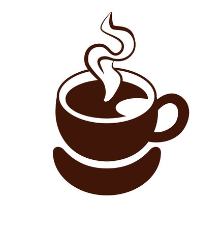 to trickle: Stylized image of a cup of coffee with steam and saucer. Sign. Template of    Coffee  . Icon. Vector illustration.