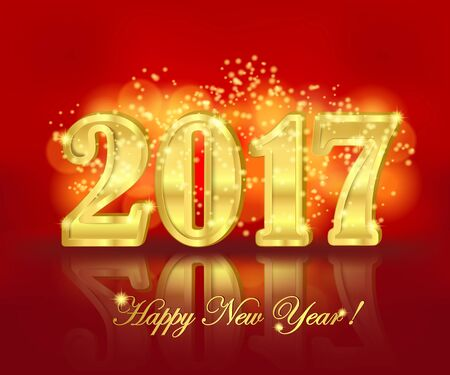 glistening: Horizontal greeting banner with golden three-dimensional lettering 2017 and sparkling shine on the bright red background. Christmas and New Year background. Vector illustration