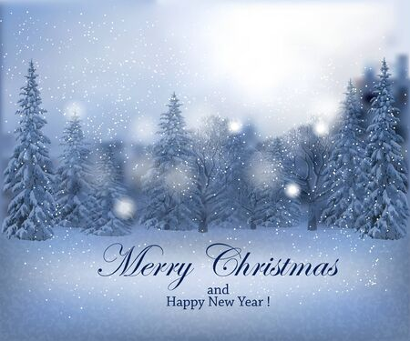 pale colors: Magical winter snowy landscape on pale colors with lettering Merry Christmas and Happy New Year. Vector illustration. Horizontal banner. Illustration