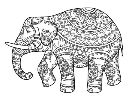 Hand drawn decorative outline elephant with Indian patterns. Adult coloring book page. Horizontal drawing with ethnic ornament. Vector illustration