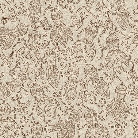 weaved: Vintage floral seamless pattern. Ethnic ornament. Weaved stylized stems of plants with unique decorative flowers in folk style. Seamless texture in beige and brown colors. Vector illustration. Illustration