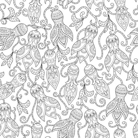 weaved: Vintage floral seamless pattern. Ethnic ornament. Weaved stylized stems of plants with unique decorative flowers in folk style. Outline seamless texture. Vector illustration. Illustration