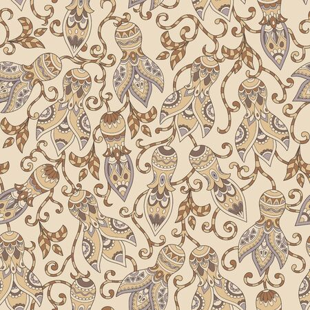 weaved: Vintage floral seamless pattern. Ethnic ornament. Weaved stylized stems of plants with unique decorative flowers in folk style. Seamless texture in beige colors. Vector illustration. Illustration