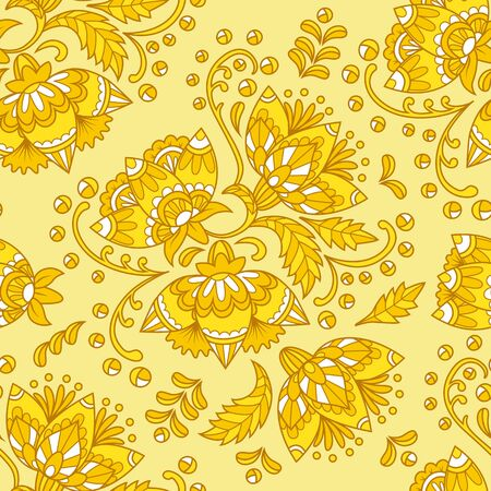 Vintage floral seamless pattern. Ethnic ornament. Stylized decorative flowers in folk style. Seamless texture in yellow colors. Vector illustration.