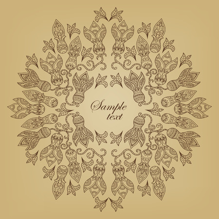 pale ocher: Round frame consisting of a folk-style decorative ornamental flowers. Vintage floral pattern. Outline retro ornament in beige colors. Square banner. Template a greeting card, book cover, t-shirt print. Vector illustration Illustration