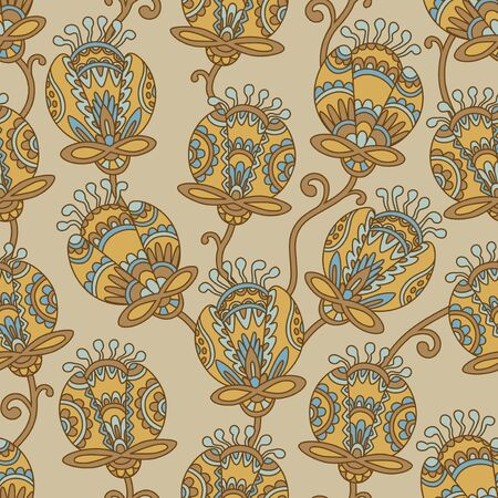 pale ocher: Vintage floral seamless pattern. Ethnic ornament. Stylized decorative flowers in folk style. Traditional handcraft. Seamless texture in ocher and beige colors. Vector illustration.