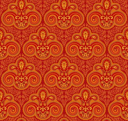 Vintage paisley seamless pattern. Ethnic ornament. Stylized decorative tribal painting. Traditional Indian, Turkey, oriental handcraft. Seamless texture in bright red and yellow  colors. Vector illustration.  イラスト・ベクター素材