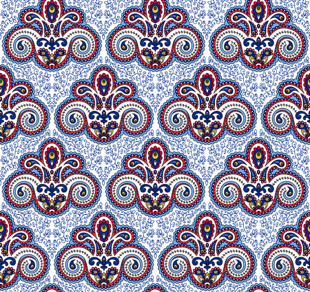 bright color: Vintage paisley seamless pattern. Ethnic ornament. Stylized decorative tribal painting. Traditional Indian, Turkey, oriental handcraft. Seamless texture in bright colors on white background. Vector illustration.