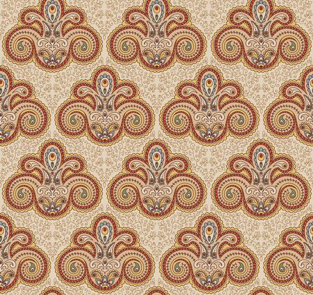 pale ocher: Vintage paisley seamless pattern. Ethnic ornament. Stylized decorative tribal painting. Traditional Indian, Turkey, oriental handcraft. Seamless texture in retro colors. Vector illustration.